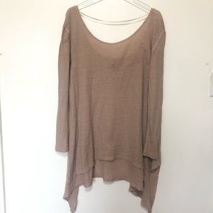We The Free People Thermal Top Oversized Tan